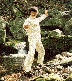 Chi-gung (Qigong) by the stream.